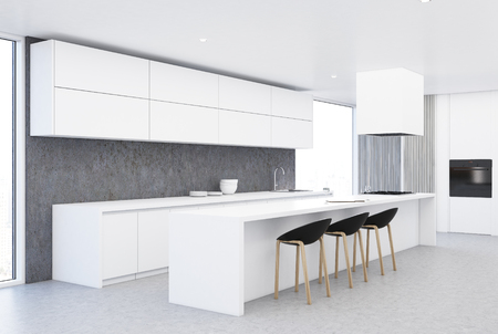. Modern White And Wooden Kitchen Corner With A Concrete Floor
