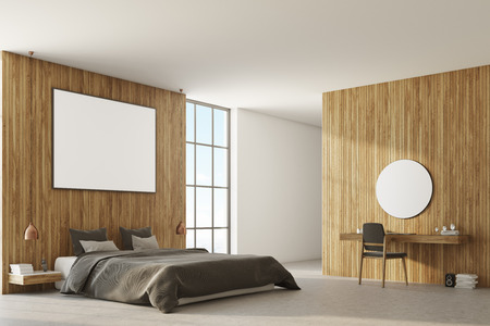 Wooden bedroom corner with a concrete floor, a master bed with two bedside tables and a home office. A poster. 3d rendering mock up