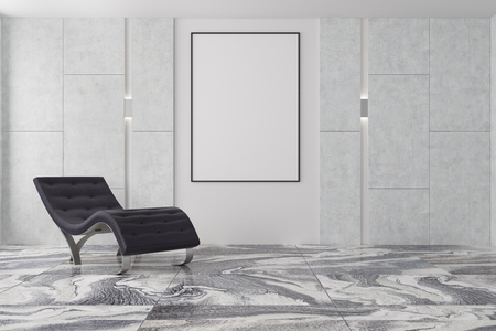 Minimalistic living room interior with a gray marble floor, gray and white walls and a black armchair near a vertical poster. 3d rendering mock up Foto de archivo