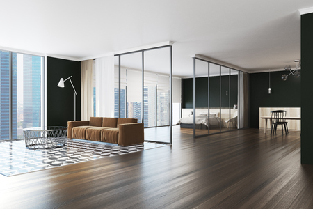 Modern Living Room Interior With A Checkered And Wooden Floor