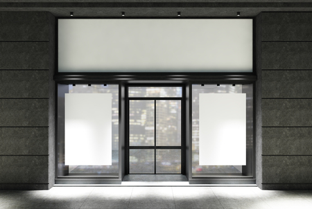 Dark gray stone and white cafe facade with two vertical posters near a glass door at night. 3d rendering mock up