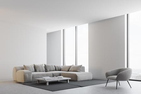 Esquina de la sala de estar moderna con paredes blancas, un piso de concreto, un sofá y un sillón cerca de una mesa de café. Una ventana panorámica. Representación 3D imitan para arriba