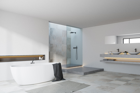 White and tiled bathroom corner with a white tiled floor, a tub and a shower with a double sink. 3d rendering mock up Stock Photo
