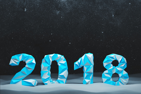 Blue 2018 digits date against a black night sky with stars. Concept of planning and the new beginning. 3d rendering mock up