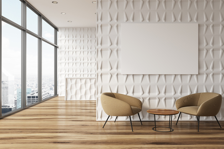 White office waiting room with panoramic windows, a reception desk and brown armchairs near round coffee tables. A poster. 3d rendering mock up