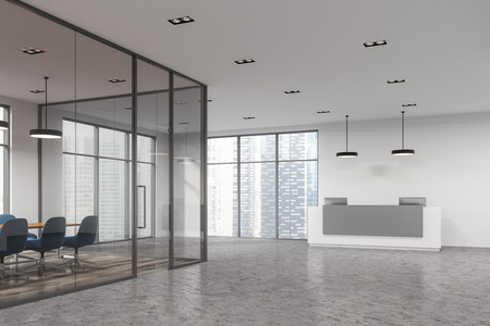 Modern conference room corner with a concrete floor, white and glass walls and a long table with blue chairs. A reception desk. 3d rendering mock up