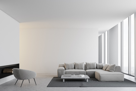 Modern living room interior with white walls, a concrete floor, a sofa and an armchair near a coffee table. A panoramic window. 3d rendering mock up