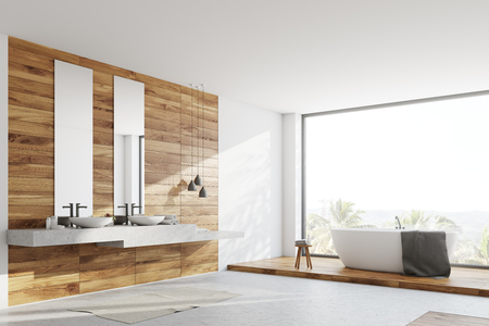 Wooden and white bathroom corner with a white floor, a white tub, two toilets and a double sink. 3d rendering mock up