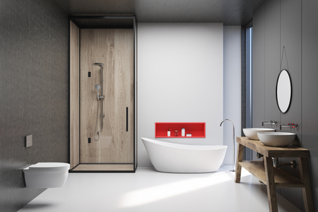 White, wooden and dark gray bathroom interior with a white floor, a white tub, a shower stall, two toilets and a double sink. 3d rendering mock up Banco de Imagens