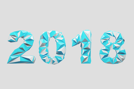 Blue 2018 digits date against a white background. Concept of planning and the new beginning. 3d rendering mock up