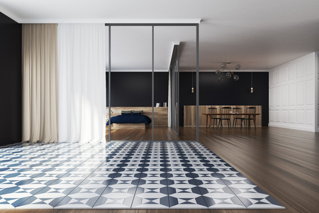 Bedroom And Dining Room Interior With A Checkered And Wooden Stock