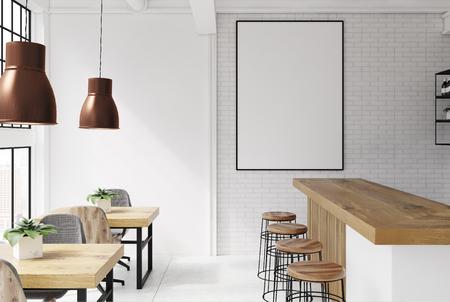 Interior de ladrillo y loft blanco de bar con piso de concreto, un bar con taburetes y mesas de madera con sillas. Un póster. Representación 3D imitan para arriba