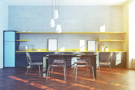 Modern Kitchen Interior With Black And Yellow Countertops, A.. Stock ...
