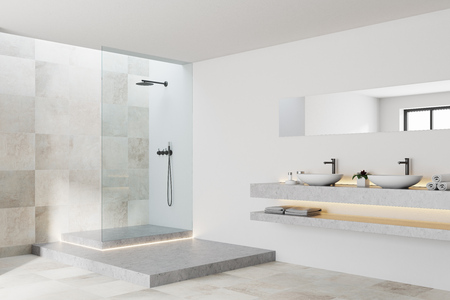 White and tiled bathroom interior with a white tiled floor, a blank wall fragment and a shower. A side view. 3d rendering mock up