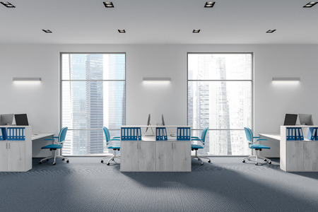 Wooden shelves in a white office with a tall window, a carpet and rows of computer desks with blue chairs. A side view. 3d rendering mock up