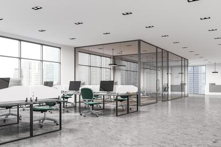 白い壁、大きな窓、白い机、緑のオフィスチェアが備まるモダンなオフィスインテリア。バックグラウンドの会議室。側面図。3D レンダリングモッ
