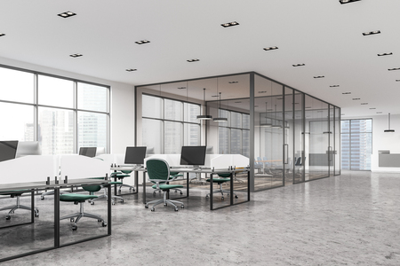 Modern office interior with white walls, large windows, white desks and green office chairs. A conference room in the background. A side view. 3d rendering mock up