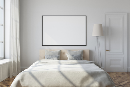 White Bedroom Interior With A White Bed, A Lamp And A Framed.. Stock ...