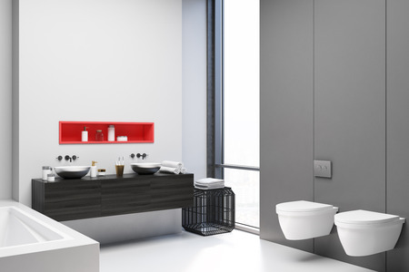 White and gray bathroom corner with a white floor, a white tub, and a black double sink, two toilets. 3d rendering mock up