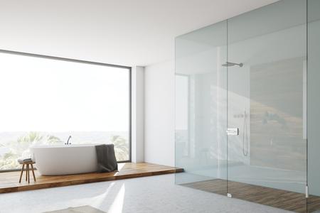 White and glass bathroom corner Stock Photo