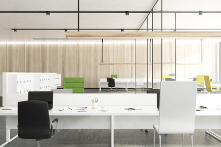 Stock Photo   Wooden Office Interior With White Locker Room Cabinets And  Tables With Green And Black Chairs Near Them. 3d Rendering Mock Up
