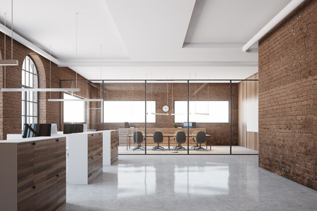 Brick meeting room interior with a glass wall and a long table with beige chairs. An open space office in the foreground. 3d rendering mock up