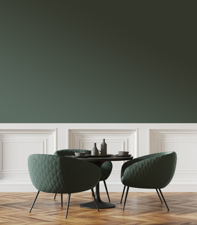 Black round table standing in a cafe with green chairs near it and a green and white wall in the background. 3d rendering mock up