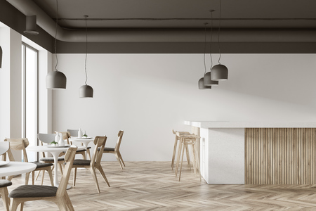 Interior of a white cafe with a wooden floor, round white tables and gray and wooden chairs. A bar with stools. 3d rendering mock up Stock Photo