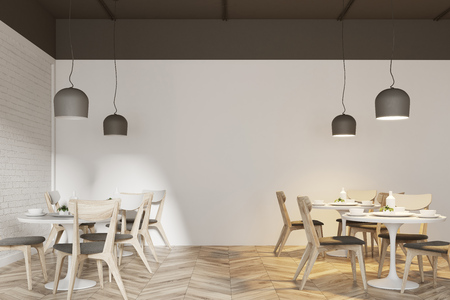 Interior of a white cafe with a wooden floor, round white tables and gray and wooden chairs. 3d rendering mock up Stock Photo
