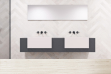 Double sink on a massive gray and white shelf with a narrow horizontal mirror above it. An original decorated wall. 3d rendering blurred mock up Stock Photo