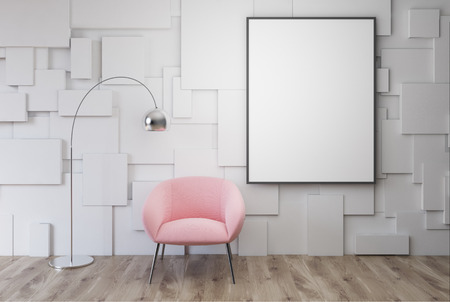 White living room interior with a pink armchair with a framed vertical poster hanging above it. 3d rendering mock up
