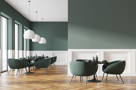 Green and white cafe interior with a wooden floor, round black tables and green chairs. A blank wall fragment. 3d rendering mock up