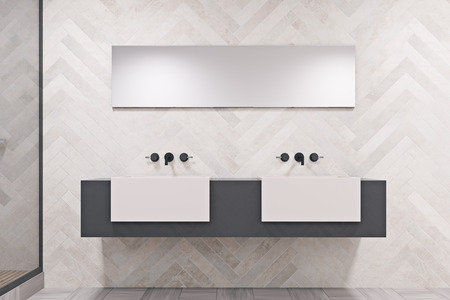 Double sink on a massive gray and white shelf with a narrow horizontal mirror above it. An original decorated wall. 3d rendering Stock Photo