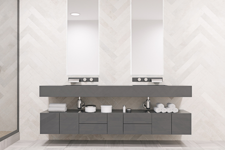Double sink on a massive gray shelf with two narrow vertical mirrors above it. An original decorated wall. 3d rendering