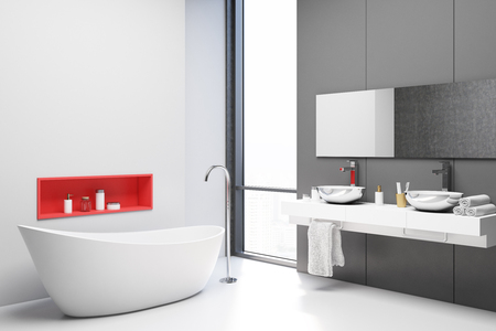 White and gray bathroom corner with a white floor, a white tub, and a white double sink with a large mirror. 3d rendering mock up