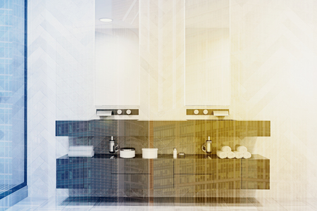 Double sink on a massive gray shelf with two narrow vertical mirrors above it. An original decorated wall. 3d rendering toned image double exposure Stock Photo
