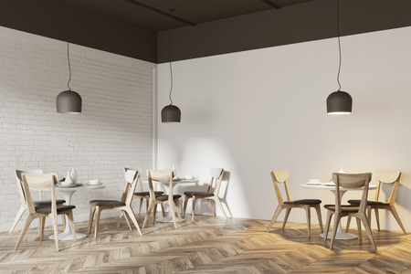 White cafe corner with a wooden floor, round white tables and gray and wooden chairs. 3d rendering mock up