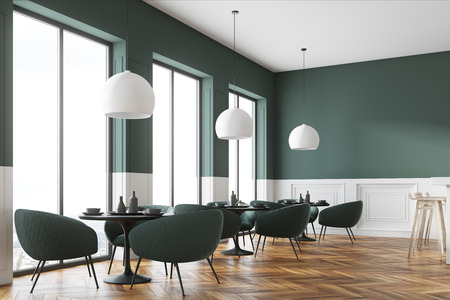 Green and white cafe corner with a wooden floor, round black tables and green chairs. A poster. 3d rendering mock up
