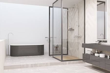 White bathroom interior with a tiled floor, a gray tub, a shower stall and a gray double sink in the corner. 3d rendering mock up Stock Photo