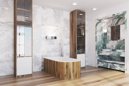 White and green marble bathroom corner with a wooden tub, a double sink and a mirror. A shower stall in the corner. 3d rendering mock up