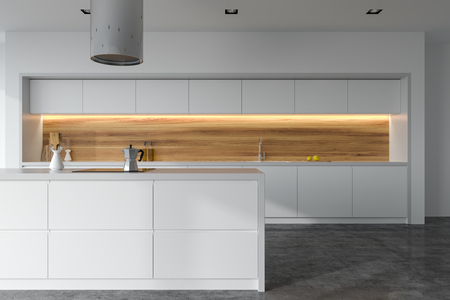 Front view of a panoramic white and wooden kitchen interior with white countertops and an island. 3d rendering mock up