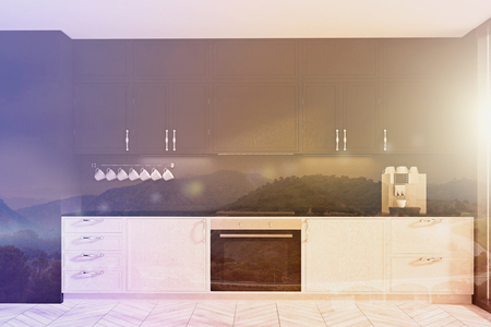 Functional white and black kitchen interior with a wooden floor and white countertops. 3d rendering mock up toned image double exposure