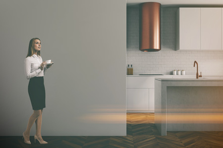 Gray wall kitchen with balck and gray countertops, a sink and a blank wall fragment. A businesswoman. 3d rendering mock up toned image