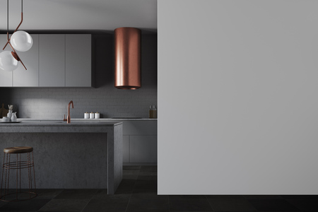 Gray wall kitchen with balck and gray countertops, a sink and a blank wall fragment. 3d rendering mock up Banco de Imagens