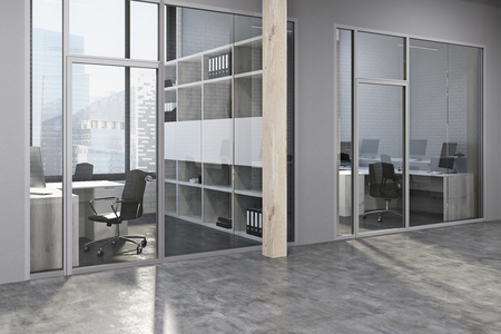 Modern Office Lobby With Gray And Wood Walls, A Concrete Floor And Rows Of  Wooden
