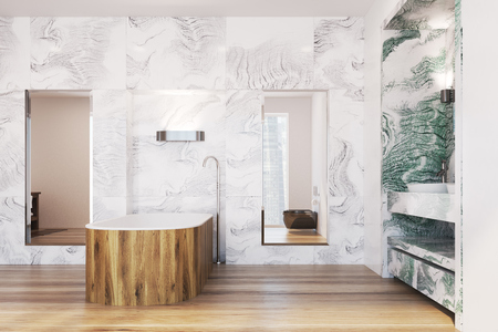 White and green marble bathroom interior with a wooden tub, a double sink and two tall mirrors. 3d rendering mock up