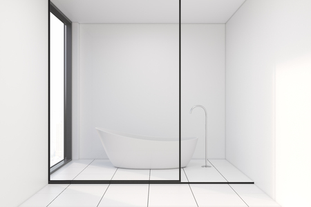 Minimalistic white bathroom interior with a tiled floor, white and glass walls and a white bathtub. 3d rendering mock up