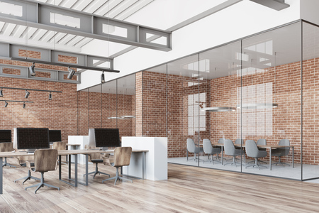Loft open space office with a wooden floor, brick walls and gray and wooden computer desks. A side view. 3d rendering mock up