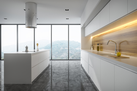 Panoramic white and wooden kitchen interior with white countertops and an island. 3d rendering mock up
