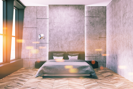 Stylish master bedroom interior with concrete walls, a gray bed with two bedside tables and a wooden floor. 3d rendering mock up toned image double exposure